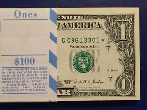 1 New York consecutive STAR NOTE $1 Dollar Bill 2013 uncirculated Low S