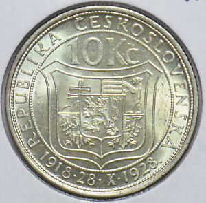 Czechoslovakia 1928 10 Korun Lion animal Bear 192556 combine shipping