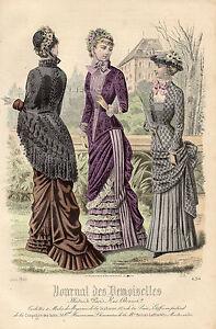 """89/ Gravure De Mode """" Journal Des Demoiselles """" 1881 Superbes Couleurs ! DéLicieux Dans Le GoûT"""