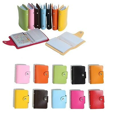PU Leather Card Holder Purse Business Case Wallet Credit Box Pocket For 24 Cards