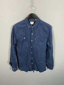 LEVI-S-Shirt-Size-Medium-Navy-Spotted-Great-Condition-Men-s