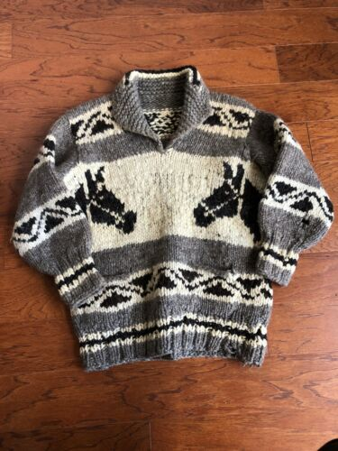 Vintage 50s 60s Hand Knit Cowichan Pullover Sweate