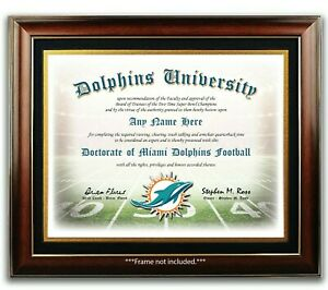 MIAMI-DOLPHINS-NFL-Football-Fan-Certificate-Diploma-Man-Cave-GIFT-Christmas