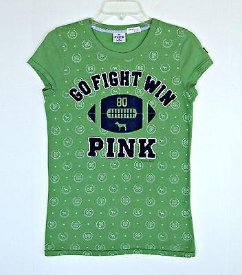 Victoria Secret Pink Green Football T-Shirt Top M 8 10 12 Sewn On Velvet Print