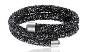 Crystal-Double-Wrap-Bracelet-Made-with-Swarovski-Elements-Black-with-Silver