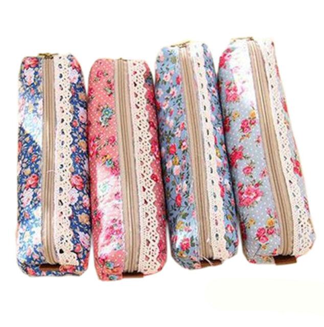 Flower Lace Floral Zipper Pen Pencil Bag Case Cosmetic Make Up Bag 4 Colors