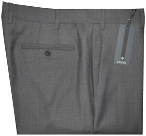 395-NEW-ZANELLA-DEVON-SOLID-MID-CHARCOAL-SUPER-120-039-S-WOOL-MENS-DRESS-PANTS-35