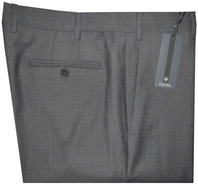 $395 NEW ZANELLA DEVON SOLID MID CHARCOAL SUPER 120'S WOOL MENS DRESS PANTS 35