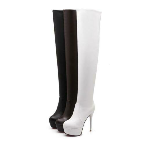 Womens Stretch Over The Knee Boots Platform Round Toe Stilettos Long Boots New
