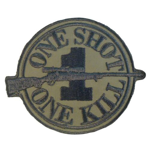ONE SHOT KILL sniper morale embroidered olive drab green hook-and-loop patch