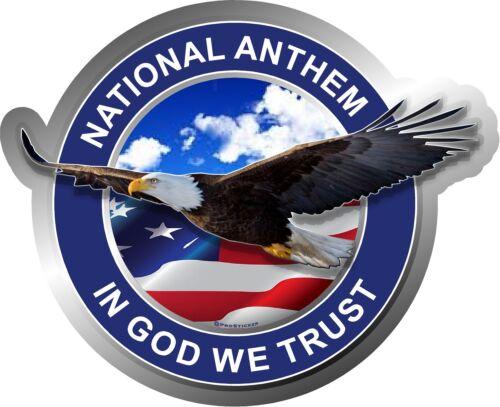 National Anthem In God We Trust flag Eagle Decal ProSticker 227V One