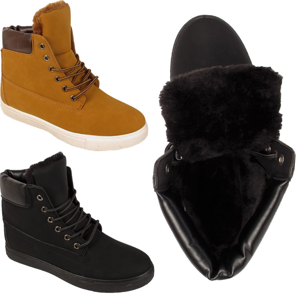 LADIES ANKLE BOOTS WORKER WOMENS WARM LINED FUR WORKER BOOTS HI TOP WINTER TRAINER SHOES 81811d