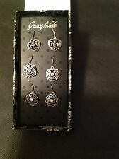 Grace Adele ENCHANTED3 Pack Drop Earrings in SIlver-Tone