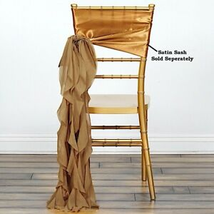 Gold Chiffon Curly Chair Sash Wedding Party Decorations Wholesale Sale Ebay