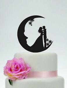 Moon Cake Topper Snowflake Customized Wedding Bride and Groom Cake ...