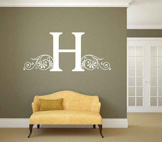 Personalized Family Name Initial Wall Decal Monogram Living Room 29  Tall