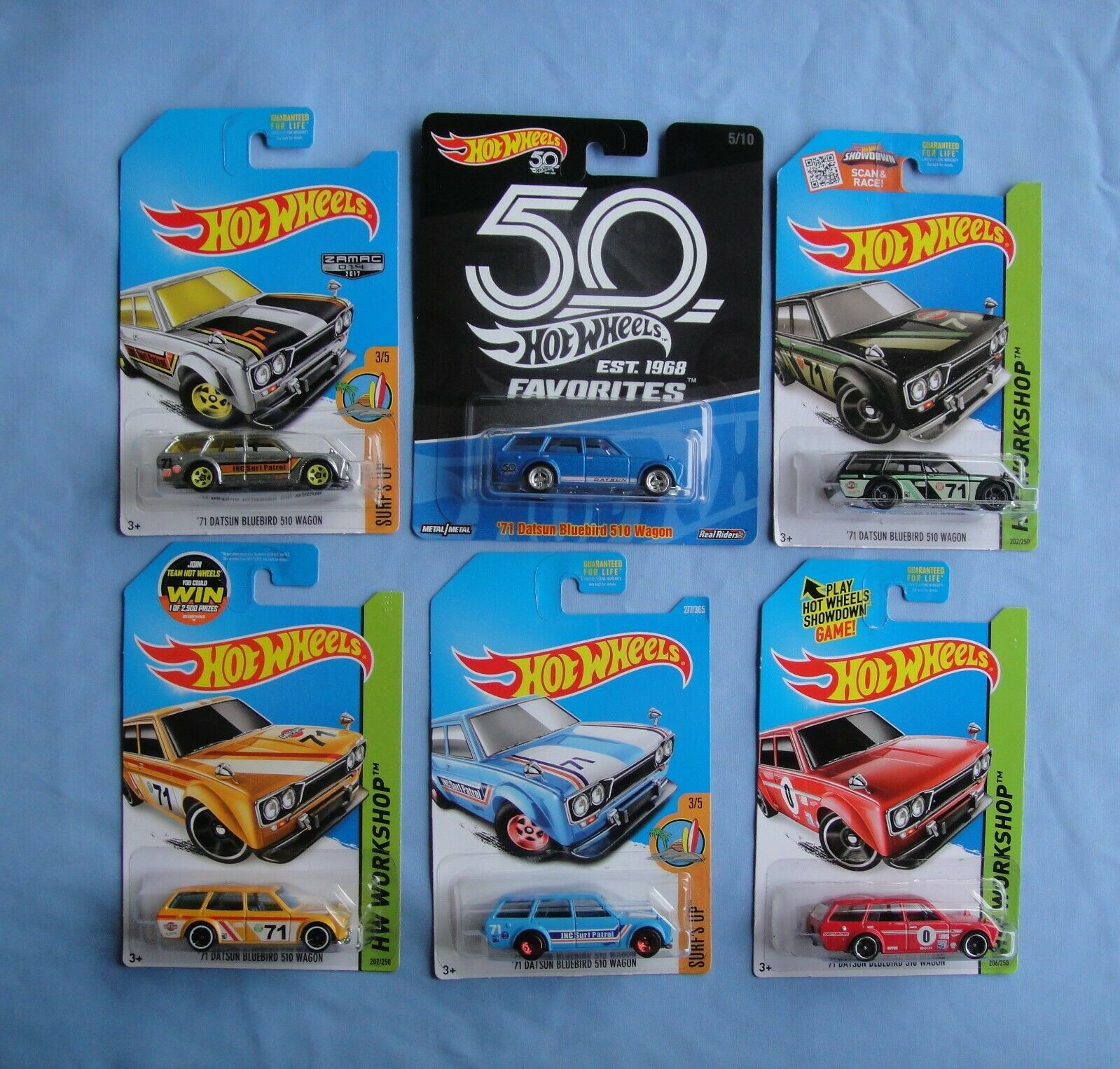 Hot Wheels Datsun Blaubird 510 Wagon Walmart & Kmart Exclusives Lot Of 6 Cars