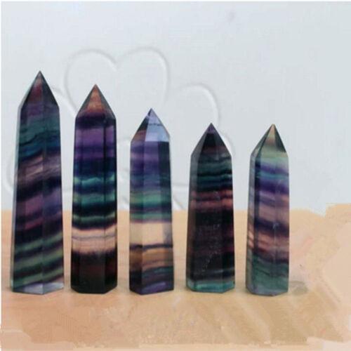 100/% 1Pc Natural Fluorite Quartz Crystal Stone Point Healing Hexagonal Wand Gift