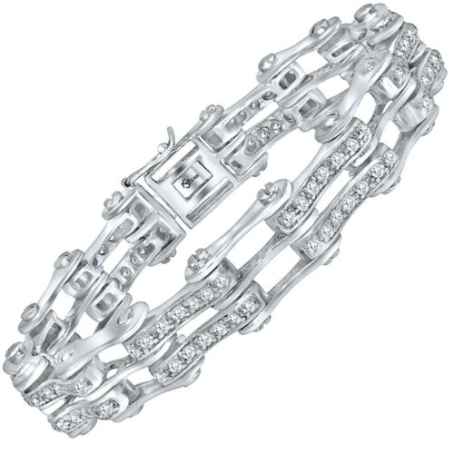 Details about  /Men/'s Real Sterling Silver .925 CZ Iced Bicycle Link Chain Bracelet 8 9 Inches