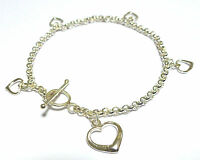 Sterling Silver 925 Belcher Bracelet with T Bar fitting and Heart Charms / Drops