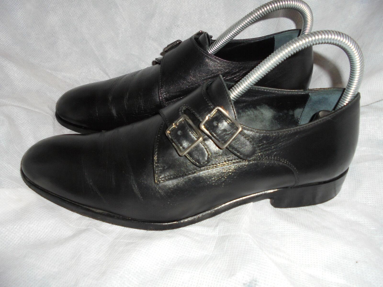 Señor liebre Hombre Cuero Negro Doble Monje Correa Zapatos Talla Uk 7 EU 41 en muy buena condición
