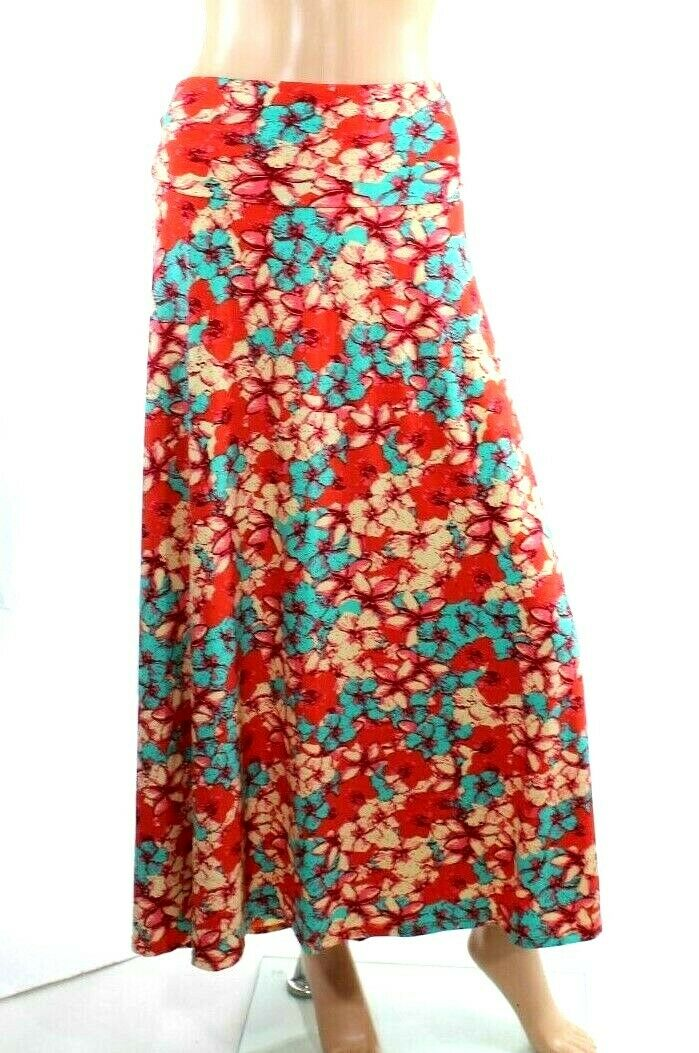 f0518ea7e Women's Maxi Skirt Red Floral Stretch Size 2XL L691 LuLaRoe ...
