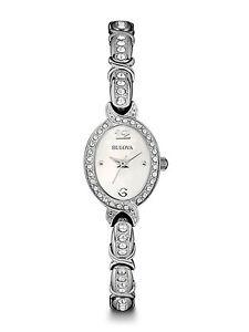 Bulova Women's Quartz Swarovski Crystal Accent Silver-Tone 17mm Watch 96L199