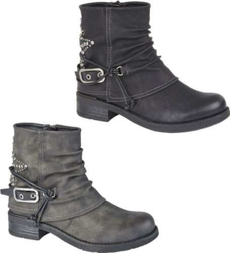 Cipriata CONCETTA Womens Ladies Faux Nubuck Star Studded Ankle Boots Black//Grey