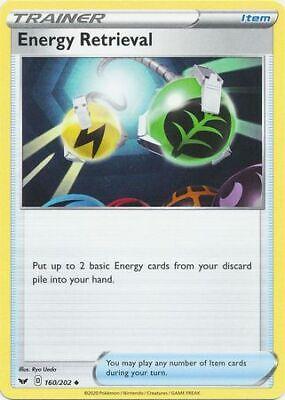 MINT Rev Holo Pokemon ENERGY RETRIEVAL 160//202 Sword /& Shield