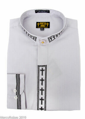 Men/'s White w// Red Cross Embroidery Neckband Clerical Clergy Shirt Pastor