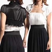 MOGAN Black & White Cover Satin BOLERO SHRUG Ruffled Dress Cropped Jacket S~XL
