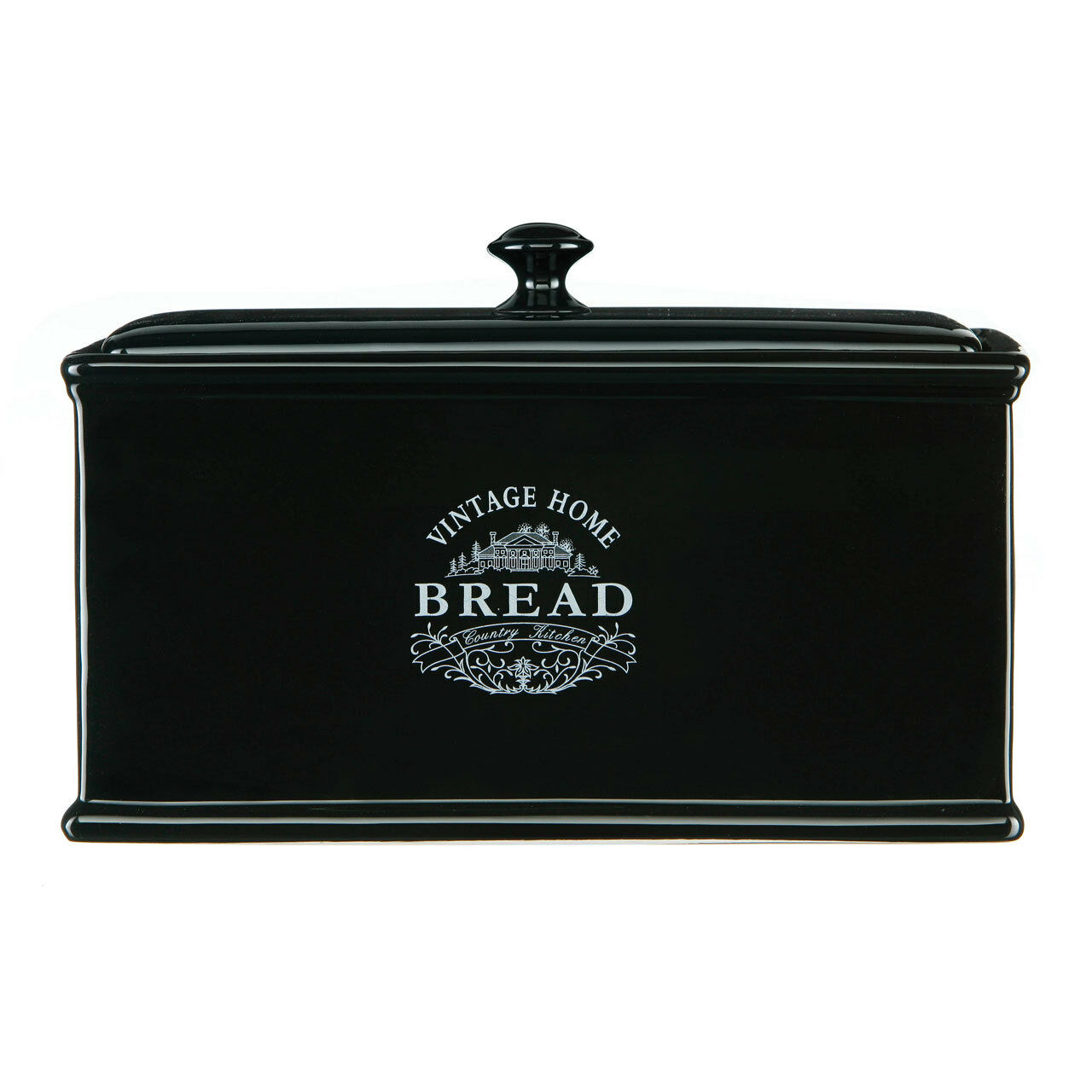Negro Vintage Pan Caja Frasco Casa De Cerámica Cocina Country Frascos de almacenamiento