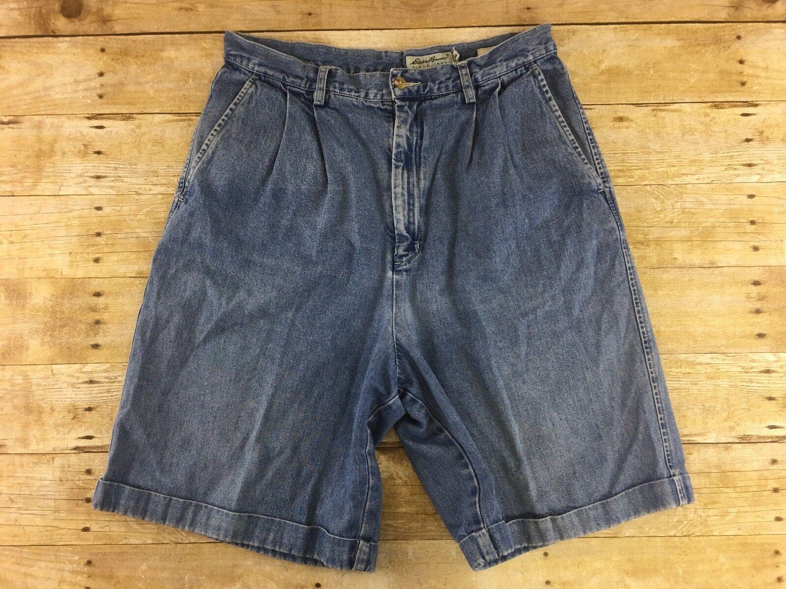 Vtg Eddie Bauer High Waist Jean Shorts Women 16 Denim Pleated Cuffed Mom 80s 90s