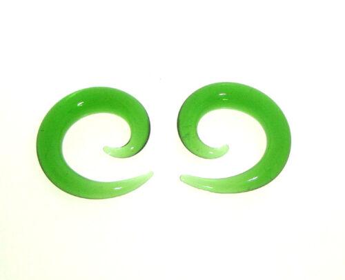 PAIR OF GREEN PYREX GLASS SPIRALS GAUGES PLUGS TALONS SMALL DIAMETER SPIRAL