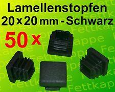 50 Lamellenstopfen Schwarz für Quadratrohr 20x20mm mit Wandstärke 0,8 bis 3,0mm