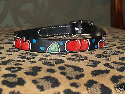 Tattoo Leather DOG collar CHERRIES rockabilly sailor xL