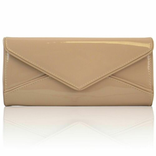 New lady/'s patent evening envelope clutch bag party wedding prom red navy black