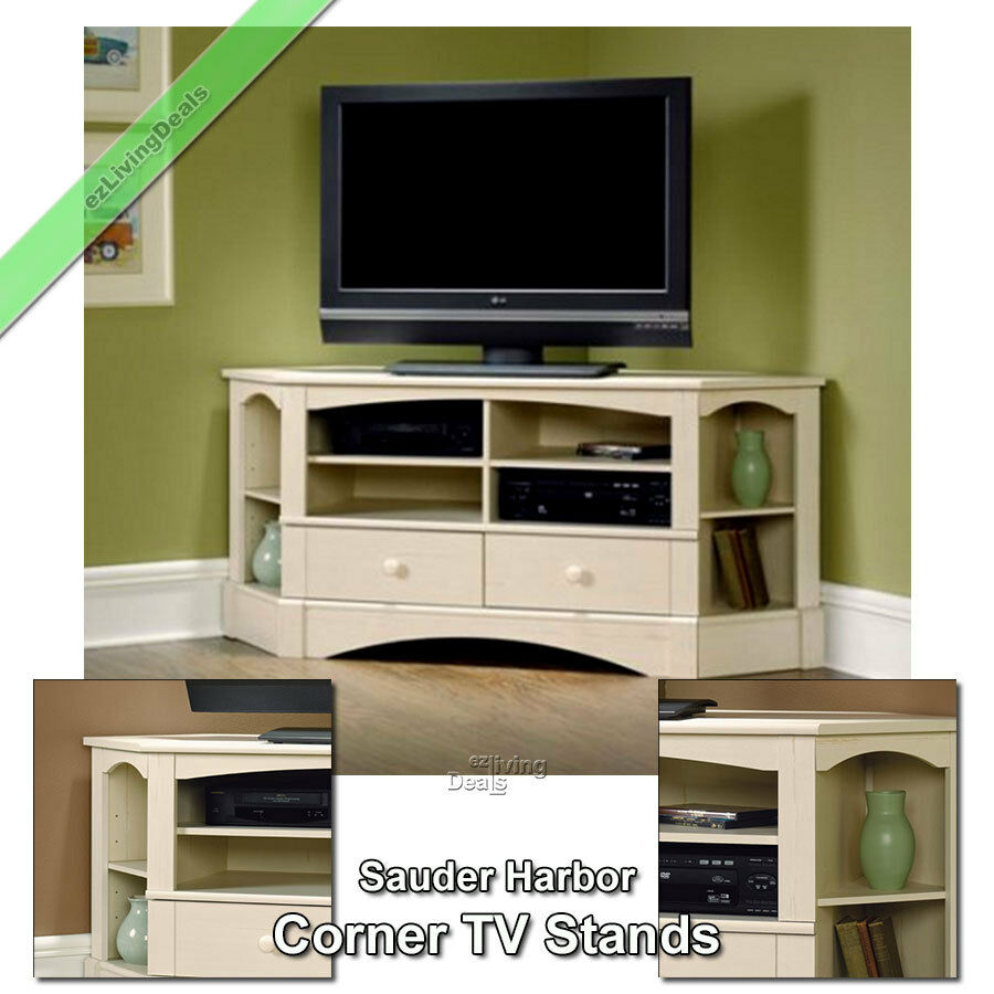 Corner Tv Stand Wood 60 Console Table Stands For Flat Screens