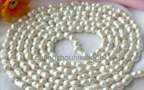 8-16 mm Baroque Double Perle Blanche Collier environ 127.00 cm Super Long 50 in