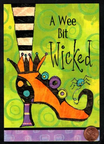 """Greeting Card Halloween Wicked Witches Shoe Spider  /""""A Wee bit Wicked/"""" NEW"""