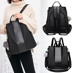 Ladies-Rucksack-Anti-theft-Shoulder-Bag-Women-Nylon-Pompom-Backpack-Handbag