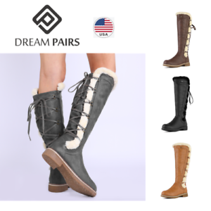 DREAM-PAIRS-Womens-Knee-High-Faux-Fur-Lined-Winter-Snow-Lace-Up-Zip-Combat-Boots