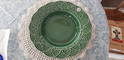 "Bordallo Pinheiro Bordallo Pinherio Large Bowl Green Grape Leaves W/ Label 13.75"" Relieving Heat And Sunstroke Art Pottery"