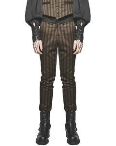 Punk-rave-homme-steampunk-pantalon-marron-rayures-noires-gothique-vtg-victorien