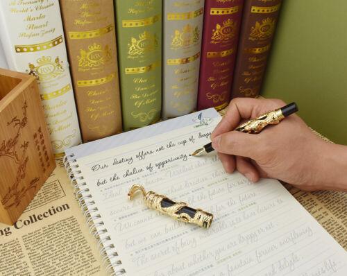 Jinhao Snake Fountain Pen Golden Black Cobra 3D Pattern Collection Pen
