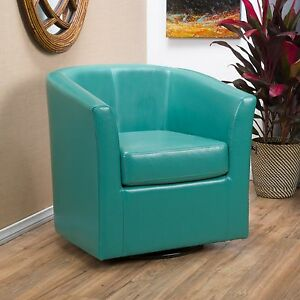 Contemporary Turquoise Leather Swivel Club Chair | eBay