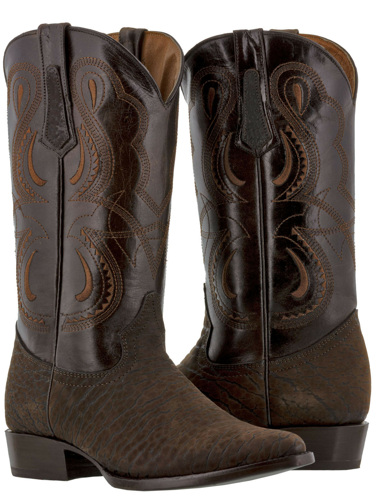 Mens Brown Western Wear Cowboy Boots Bison Bull Design Leather Pointed Toe