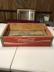 Coca-Cola  4--pocket Vintage Red Wood Bottle Crate Case Reproduction Retro