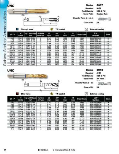 5-40 ANSI CNC 3 Flute Spiral Point Plug PM-Cobalt TiN Coated Blue Ring Tap
