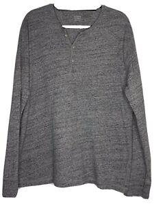 J-Crew-Men-s-Gray-100-Cotton-Henley-Shirt-Size-XL